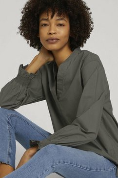 tom tailor mine to five shirtblouse oversized blouse met mouwdetail grijs
