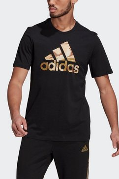 adidas performance t-shirt »essentials camouflage print« zwart