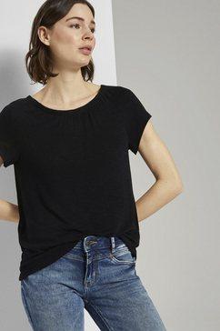 tom tailor t-shirt »basic t-shirt mit carmen-ausschnitt« zwart