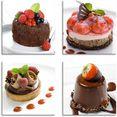 artland artprint op linnen gebak  desserts (4 stuks) bruin