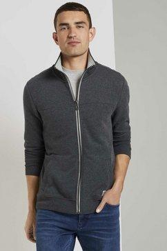 tom tailor sweatshirt sweatvest met staande kraag grijs