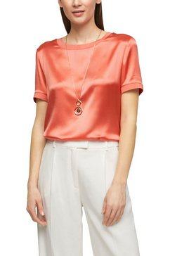 s.oliver black label blouse met korte mouwen in zijde-look en ronde hals roze