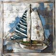 gilde gallery metalen artprint kunstobject admiral´s cup met de hand gemaakte 3d-artprint, 80x80 cm, van metaal, motief zeilboot, maritiem, woonkamer (1 stuk) multicolor