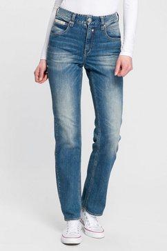 herrlicher high-waist jeans »touch hi straight« blauw
