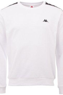 kappa sweatshirt ildan met hoogwaardige jacquard logoband aan de mouwen wit