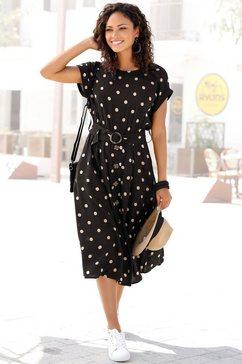 lascana midi-jurk met stippenprint (met riem) zwart