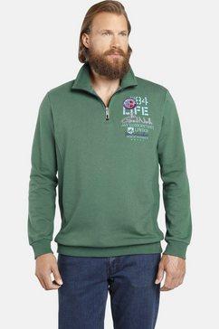 jan vanderstorm sweatshirt stenkil met schipperskraag, comfort fit groen