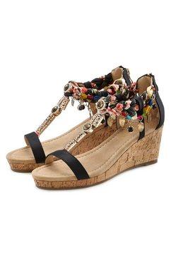 lascana sandaaltjes met sleehak en met modieuze garnering zwart