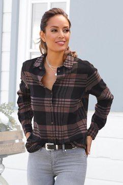 lascana geruite blouse van zacht flanel paars