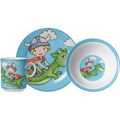 ritzenhoff  breker kinderservies-set draak (set, 3-delig) blauw