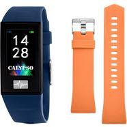 calypso watches smartwatch smartime, k8500-5 met verwisselbare armband (set, 2-delig, met oranje wisselband) blauw