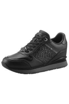tommy hilfiger sneakers met sleehak dressy wedge sneaker met stempeldruk zwart