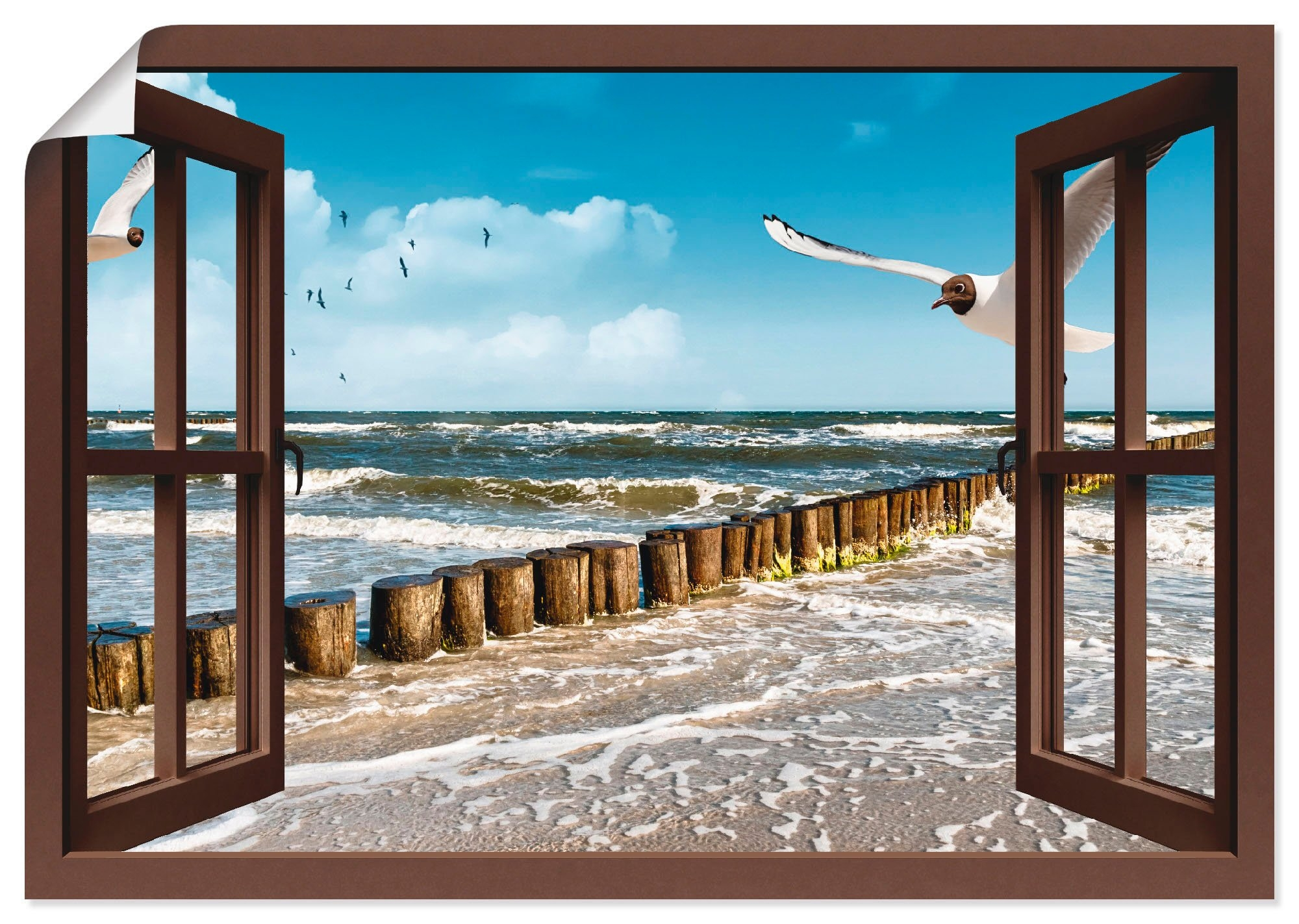 Artland artprint Blik uit het venster - Oostzee in vele afmetingen & productsoorten -artprint op linnen, poster, muursticker / wandfolie ook geschikt voor de badkamer (1 stuk) veilig op otto.nl kopen