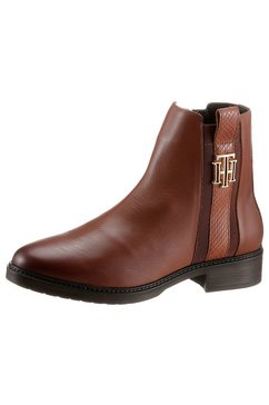 tommy hilfiger laarsjes »th interlock leather flat boot« bruin