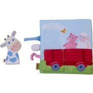 haba grijpspeeltje textielen boek boerderij met koe-vingerpop multicolor