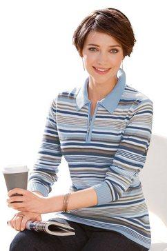 casual looks trui met polokraag trui blauw