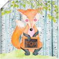 artland artprint bosvriendjes- de slimme vos in vele afmetingen  productsoorten - artprint van aluminium - artprint voor buiten, artprint op linnen, poster, muursticker - wandfolie ook geschikt voor de badkamer (1 stuk) multicolor