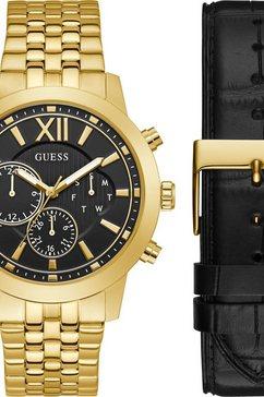 guess multifunctioneel horloge mercury,gw0296g1 (2-delig, met een zwarte verwisselbare band) goud