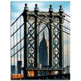 artland print op glas new york manhattan bridge (1 stuk) blauw