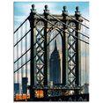 artland print op glas »new york manhattan bridge« blauw