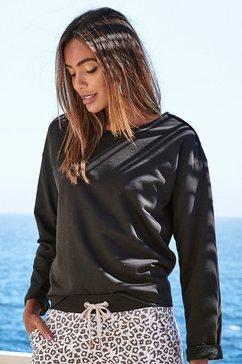 lascana sweatshirt met open zoomranden zwart