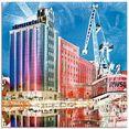 artland print op glas duisburg skyline collage ii (1 stuk) multicolor