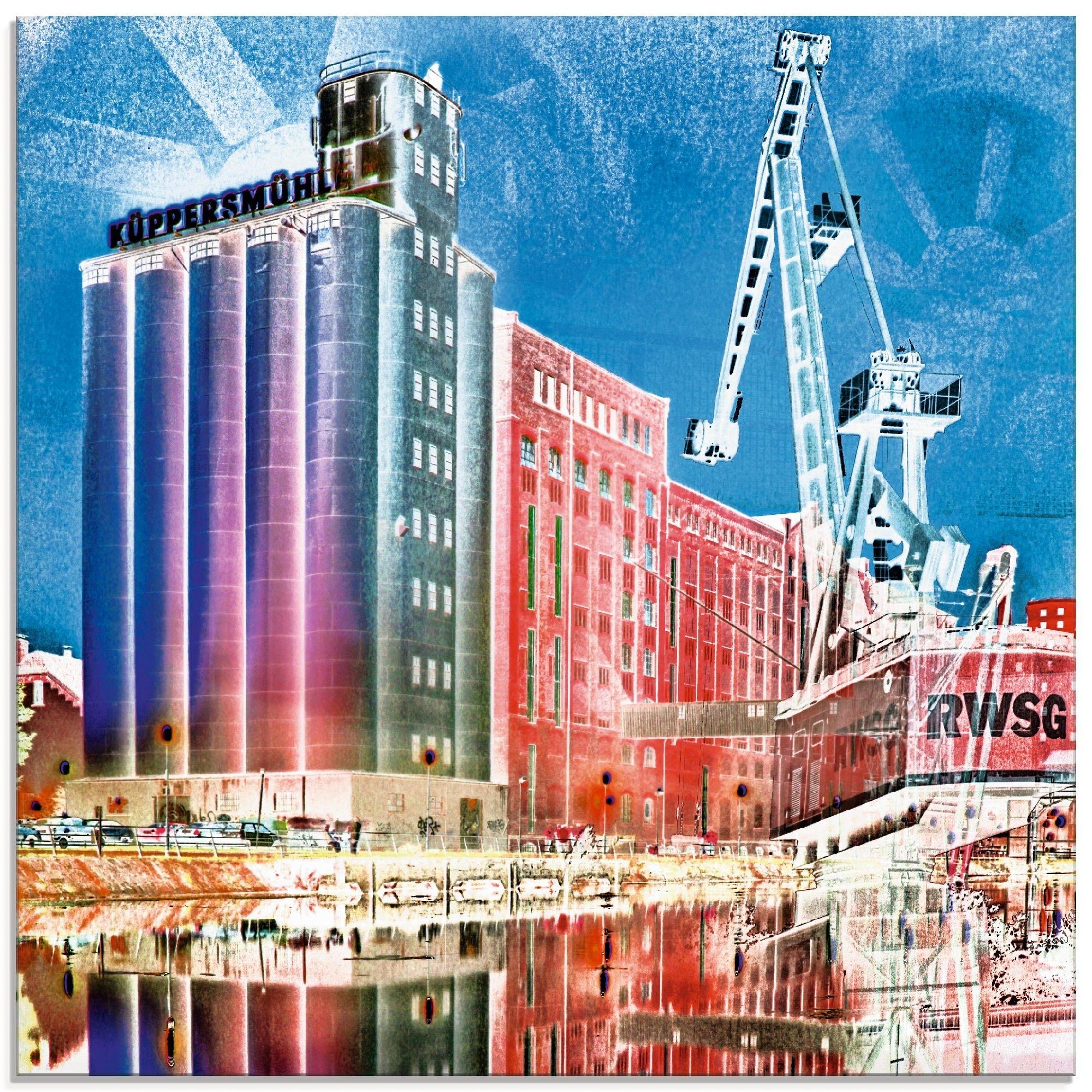 Artland print op glas Duisburg skyline collage II (1 stuk) - gratis ruilen op otto.nl
