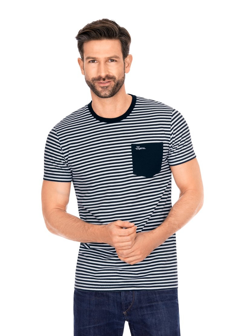 Trigema T-shirt met modieus streepdessin bestellen: 30 dagen bedenktijd