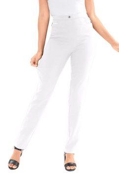 classic basics broek met sierritsstrook wit
