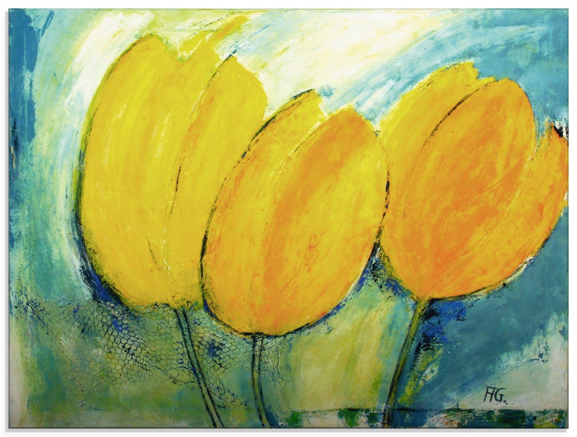 Artland print op glas Tulpen schilderkunst (1 stuk) online kopen op otto.nl