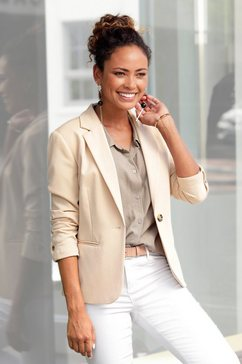 lascana korte blazer in klassieke vorm beige