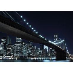 fotobehang new york by night 272x198 cm zwart