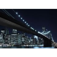 home affaire fotobehang new york by night 272-198 cm (8 stuks) zwart