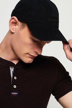 superdry baseballcap front met logoborduursel zwart