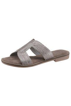 marco tozzi slippers in gevlochten look zilver