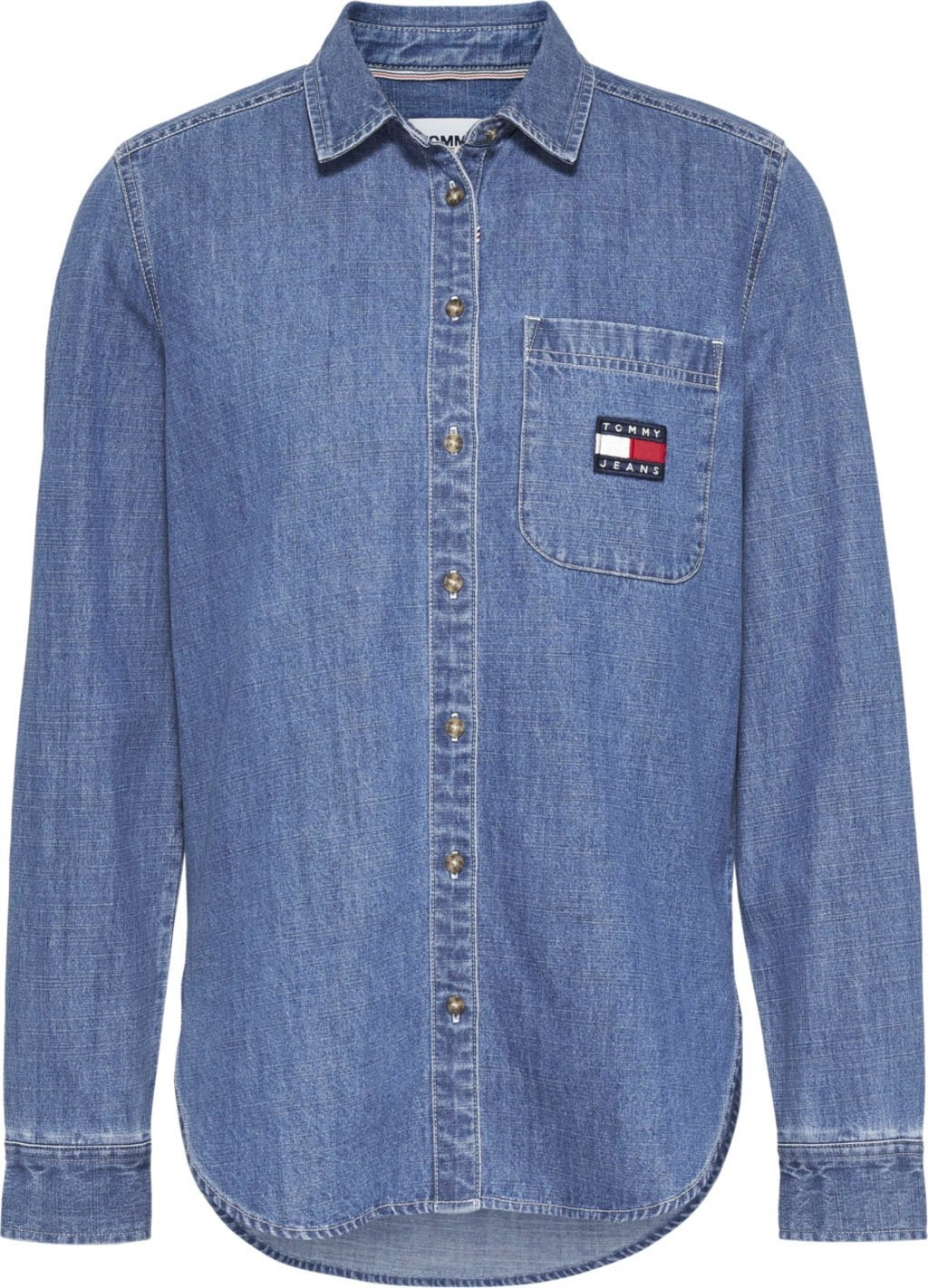 TOMMY JEANS Jeansblouse TJW Regular Chambray Badge Shirt met tommy jeans-logobadge online kopen op otto.nl