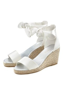lascana sandaaltjes met sleehak in raffia-look wit