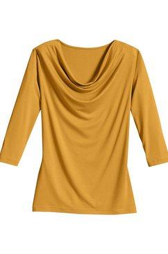 classic inspirationen shirt met kleine cascadehals bruin