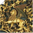 artland artprint isenheimer altaar, detail: leeuw in vele afmetingen  productsoorten -artprint op linnen, poster, muursticker - wandfolie ook geschikt voor de badkamer (1 stuk) goud