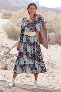 lascana maxi-jurk met all-over print grijs
