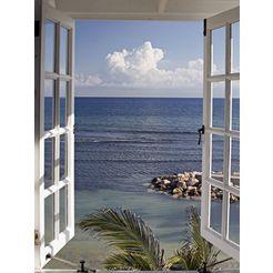 home affaire, glazen artprint, »raam met uitzicht«, 60x80 cm blauw