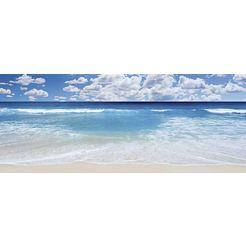 home affaire, glazen artprint, 'strand en zee', 125x50 cm blauw