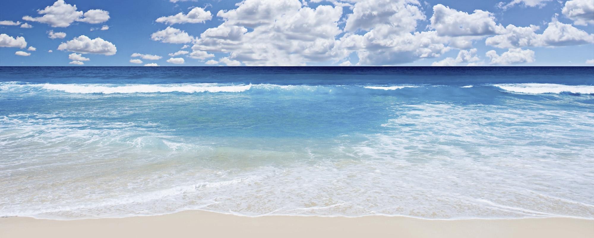 Home affaire glazen artprint, 'Strand en zee', 125x50 cm bij OTTO online kopen