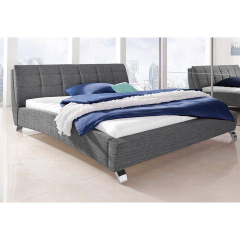 Bed met imitatieleer of structuurstof 180x200 cm grijs 588380