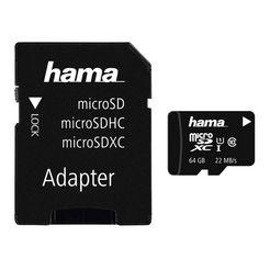 hama geheugenkaart microsdhc - sdxc klasse 10 uhs-i met sd-adapter »sd 3.0-kaart geheugenkaart« zwart