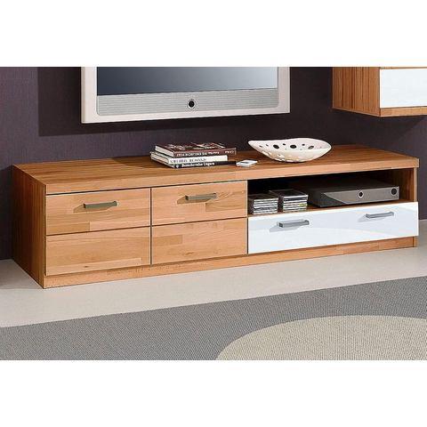 Lowboard met metalen grepen beukenkernhout wit glas TV-kast 426