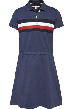 tommy hilfiger jerseyjurk pique polo dress s-s polojurk met inzetten blauw