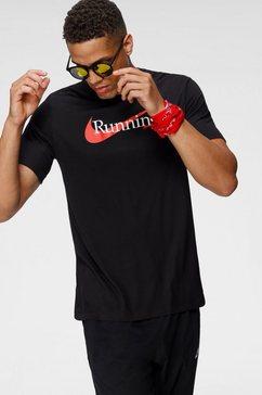nike runningshirt dri-fit mens running t-shirt zwart