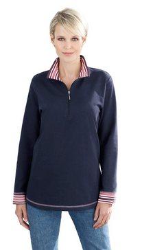 classic basics sweatshirt met streepdessin bij de kraag blauw