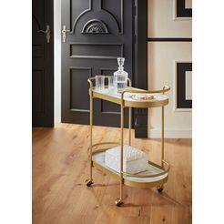 guido maria kretschmer homeliving serveerwagen shinely planken van glas in marmer-look goud